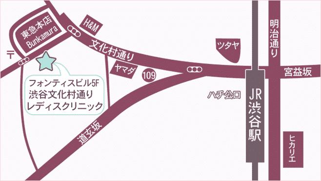 渋谷文化村通りレディスクリニック地図
